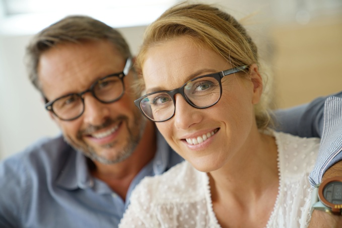 Portrait of mature couple with eyeglasses